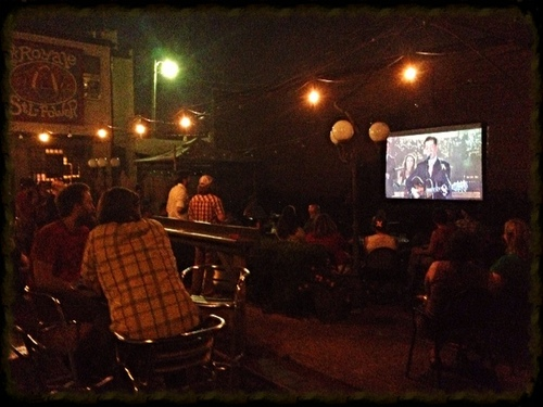 "Pokey Lafarge on David Letterman in the courtyard of The Royale (adjacent to the Royale's ""STL POWER"" sign)"