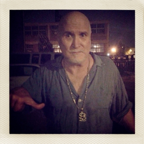 Bob Reuter giving a partial thumbs-up outside Off Broadway in 2011. (He was unsure how to feel about being forced to wear my STL bling necklace.) / photo by Jaime Lees