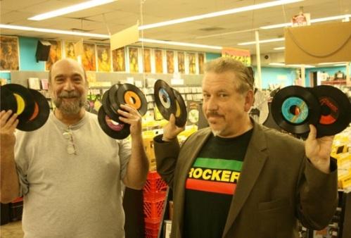 "Lew Prince (left) and Tom ""Papa"" Ray at Vintage Vinyl. / Photo by Jon Scorfina"