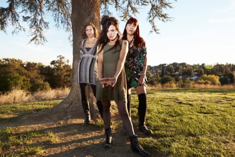 Babes in Toyland. Photo by Robin Laananen. Front to back: Kat Bjelland, Lori Barbero and Maureen Herman.