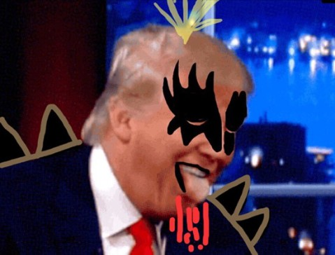 Screen grab of Donald Trump on The Late Show with Stephen Colbert (plus doodles)
