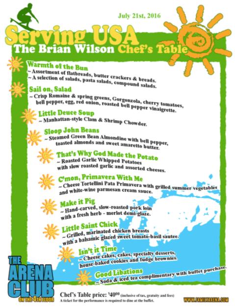 Brian Wilson menu