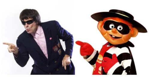 "Beatle Bob pulling a signature dance move and the McDonald's ""Hamburglar"" character / Beatle Bob photo by Lynn Terry"